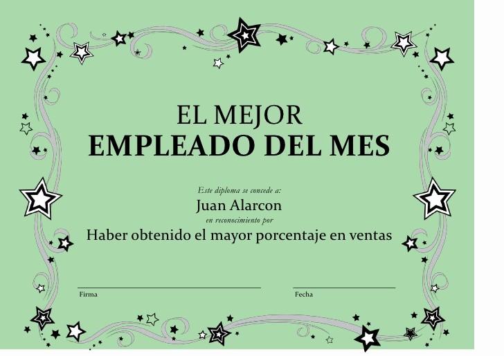 Formato Reconocimiento Empleado Del Mes Awesome Diplomas