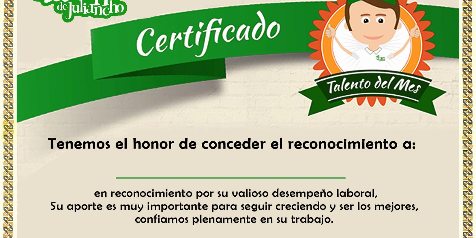 Formato Reconocimiento Empleado Del Mes Awesome Talento Del Mes – El Rancho De Juliancho