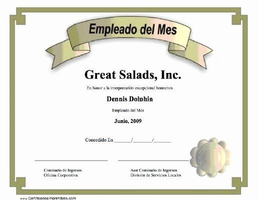 Formato Reconocimiento Empleado Del Mes Lovely Empleado Del Mes Para Imprimir Los Certificados Gratis