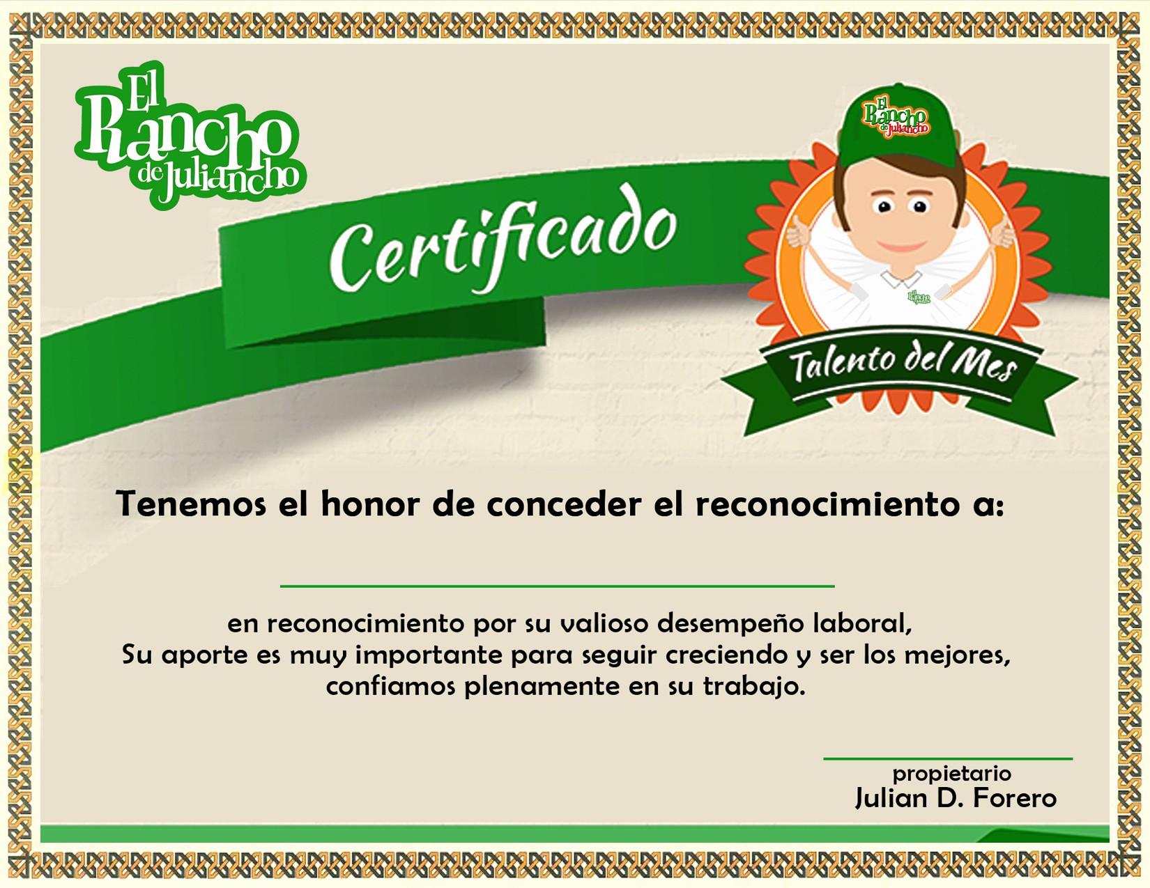 Formato Reconocimiento Empleado Del Mes Luxury Talento Del Mes – El Rancho De Juliancho