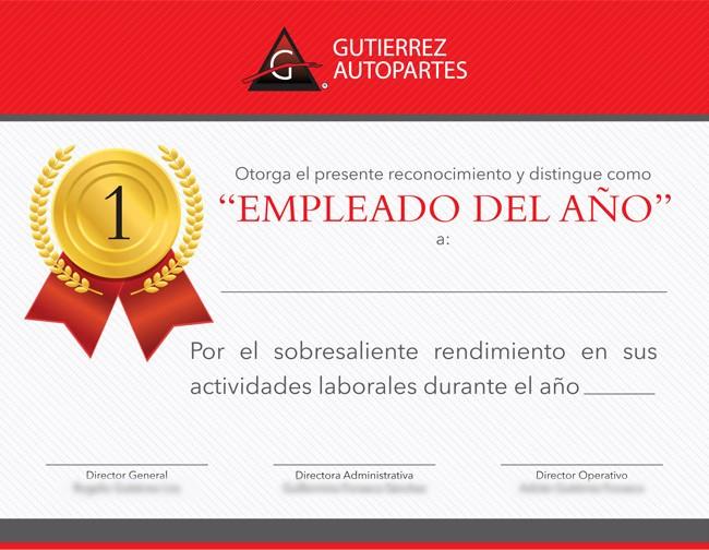 Formato Reconocimiento Empleado Del Mes New Belong Studio Imagen Corporativa Gutierrez Autopartes