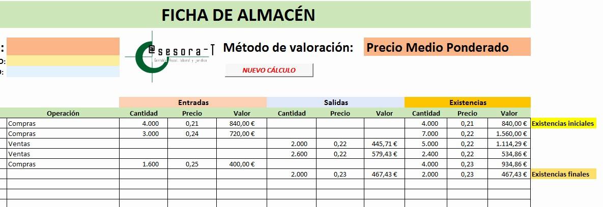 Formato Salida De Almacen Excel Best Of Hoja De CÁlculo Excel Precio Medio Ponderado Y Fifo