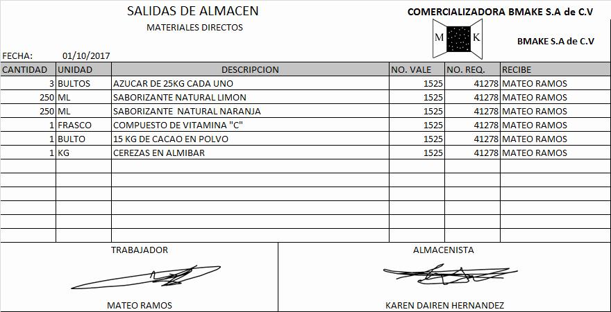 Formato Salida De Almacen Excel Elegant Apoya En El Proceso De Administración Del Servicio De