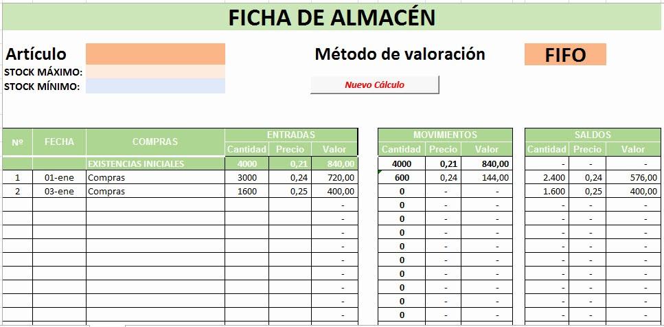 Formato Salida De Almacen Excel Elegant Hoja De CÁlculo Excel Precio Medio Ponderado Y Fifo