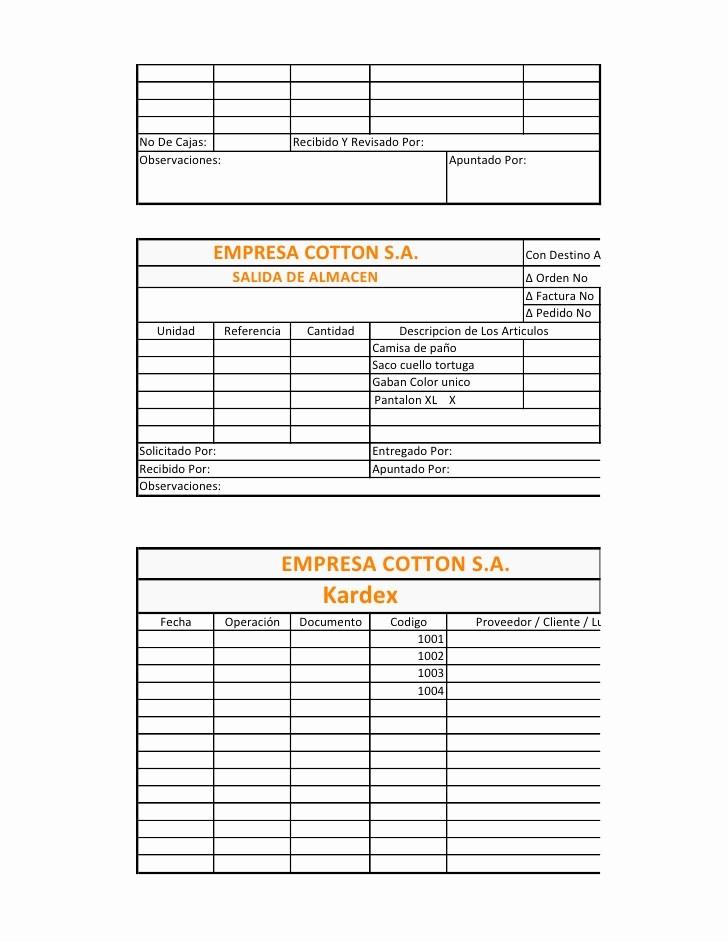 Formato Salida De Almacen Excel Fresh formatos De Logistica