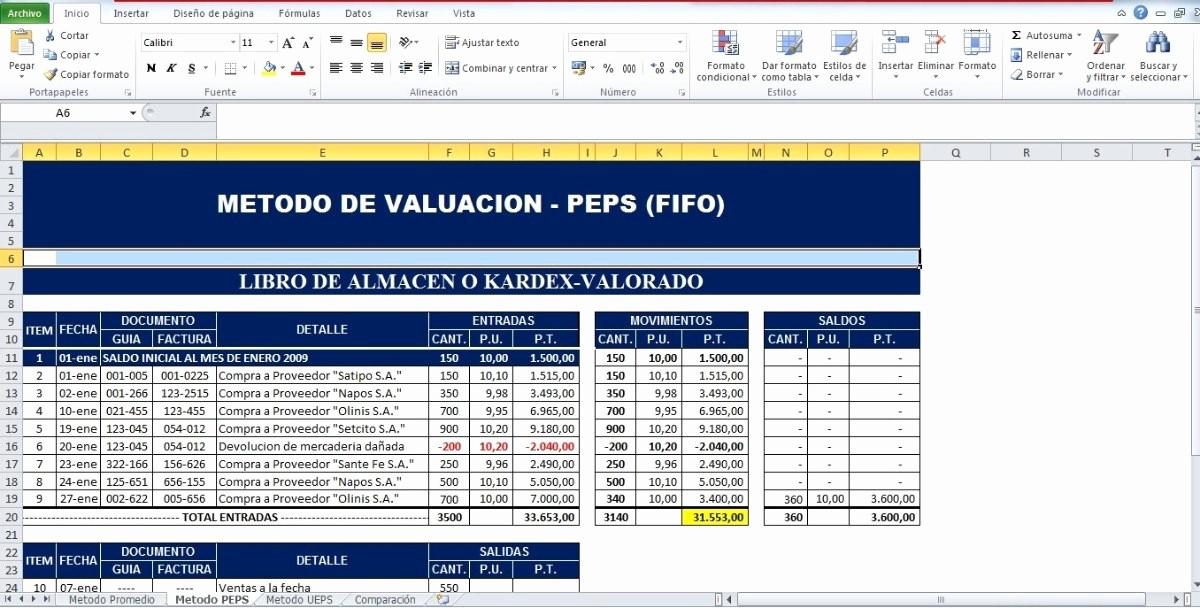 Formato Salida De Almacen Excel Unique formatos En Excel De Metodos De Valoracion De Inventario