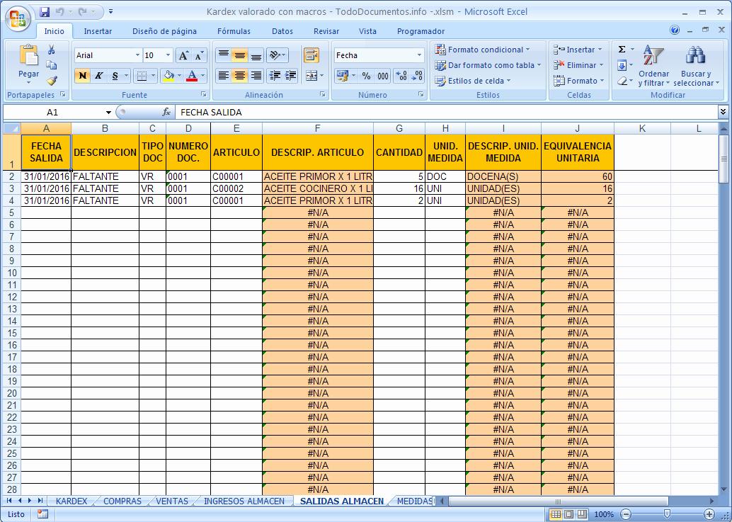 Formato Salida De Almacen Excel Unique Hoja De Kardex Valorado En Excel Con Macros todo