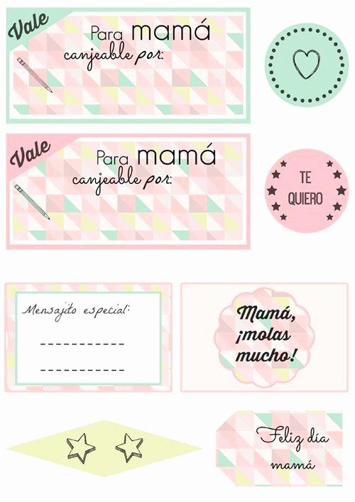 Formato Vale Por Para Imprimir Beautiful Regalo Da De La Madre Kit Imprimible Diy Vales