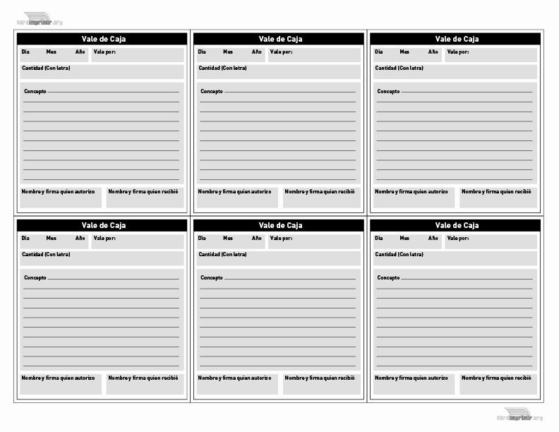 Formato Vale Por Para Imprimir Best Of Vales De Caja Para Imprimir