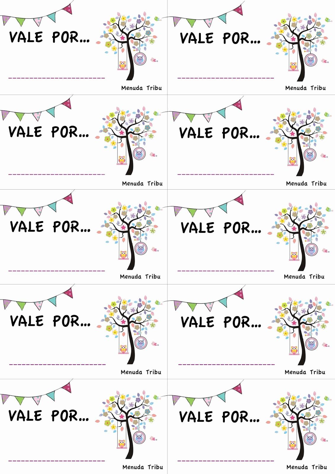 Formato Vale Por Para Imprimir Inspirational Menuda Tribu Talonario De Vales De Regalo Para Imprimir