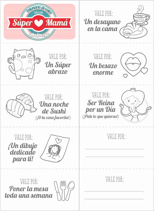 Formato Vale Por Para Imprimir Unique Vales Regalo Para Una Súper Mamá El Mejor Regalo Para El