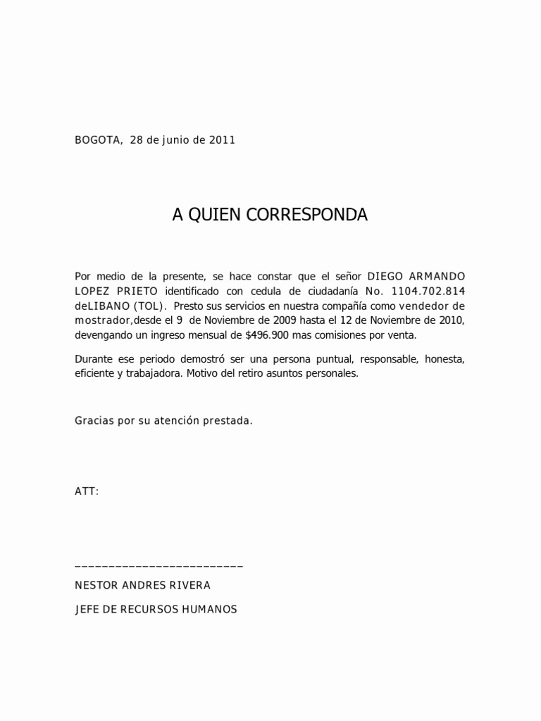 Formatos Carta De Recomendacion Laboral Best Of formato De Carta Profesional Militaryalicious