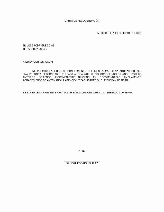 Formatos Carta De Recomendacion Laboral Elegant Carta De Re Endación