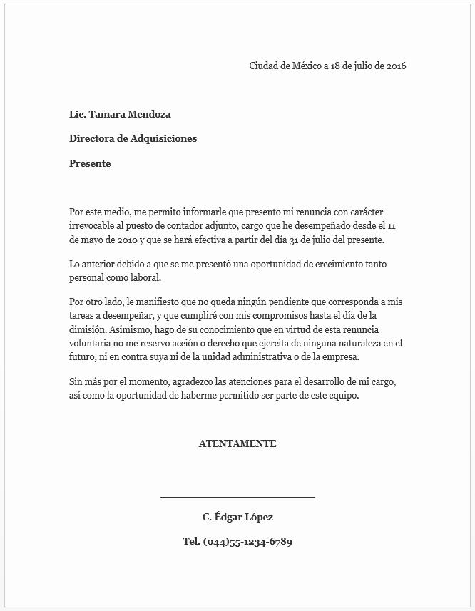 Formatos Carta De Recomendacion Laboral Fresh formato Carta De Renuncia