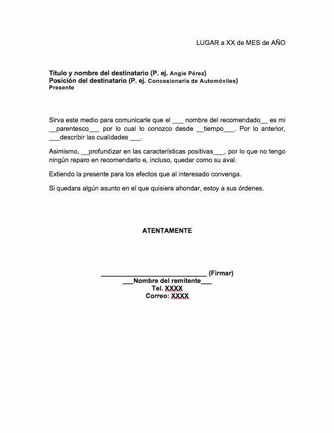 Formatos Carta De Recomendacion Laboral Fresh formato De Carta De Re Endación Familiar