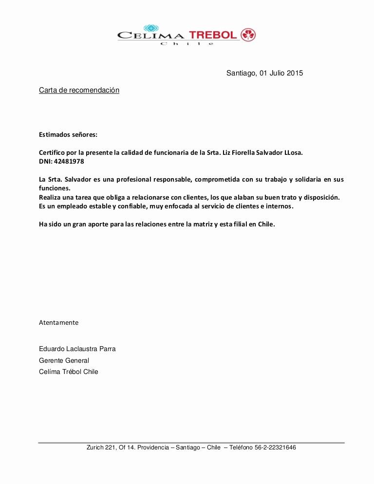 Formatos Carta De Recomendacion Laboral Inspirational Carta De Re Endación Chile