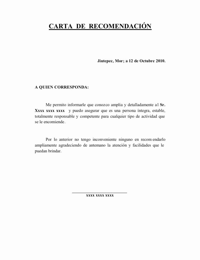 Formatos Carta De Recomendacion Personal Inspirational Carta De Re Endación Reynaldo