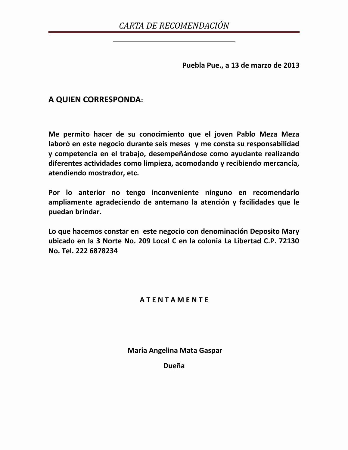 Formatos Carta De Recomendacion Personal Inspirational Carta Re Endacion Pablom by Hilario issuu