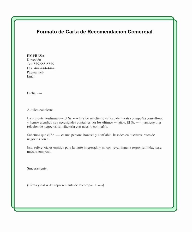 Formatos Carta De Recomendacion Personal Inspirational formato De Carta De Re Endación Ercial