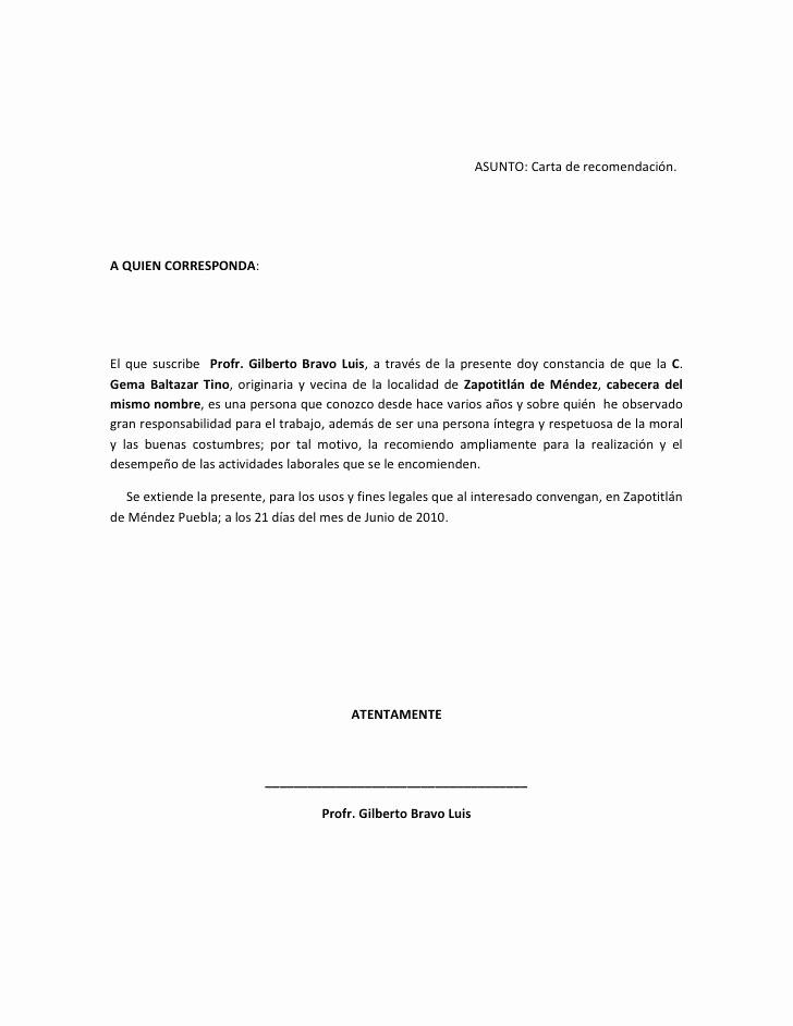 Formatos Carta De Recomendacion Personal New asunto C Carta De Reco Personal