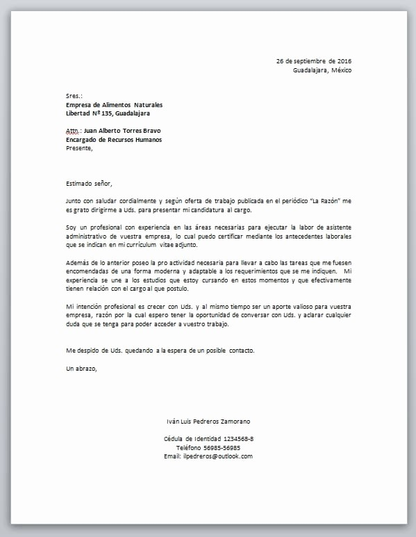 Formatos Cartas De Recomendacion Laboral Inspirational Carta De Presentación Laboral Descarga formato Word