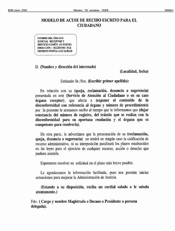Formatos De Acuse De Recibo Beautiful Acuerdo De 22 De Septiembre De 1999 Del Pleno Del Consejo