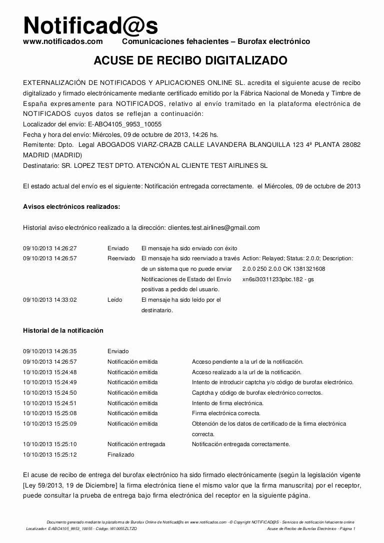 Formatos De Acuse De Recibo Luxury Ejemplo Acuse De Recibo De Burofax Electrónico Creado En