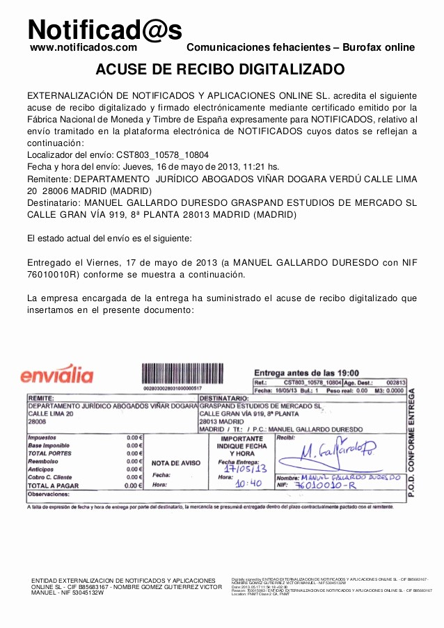 Formatos De Acuse De Recibo Luxury Ejemplo Acuse De Recibo De Burofax Postal Creado En