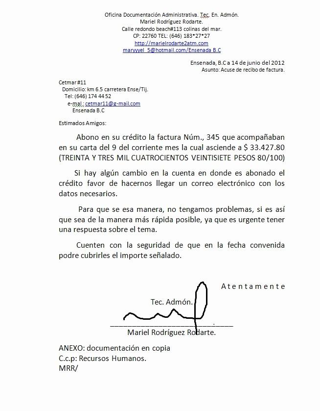 Formatos De Acuse De Recibo New Mariel Rodriguez Redaccion De Cartas Diversas