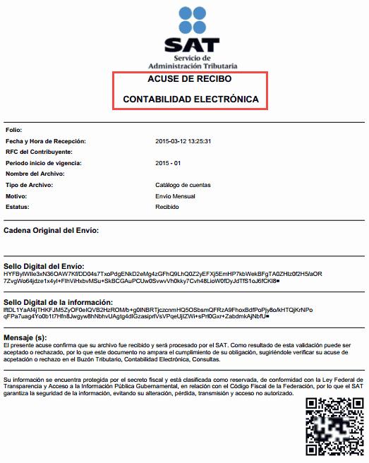 Formatos De Acuse De Recibo Unique Envo De La Contabilidad Electrónica Al Sat