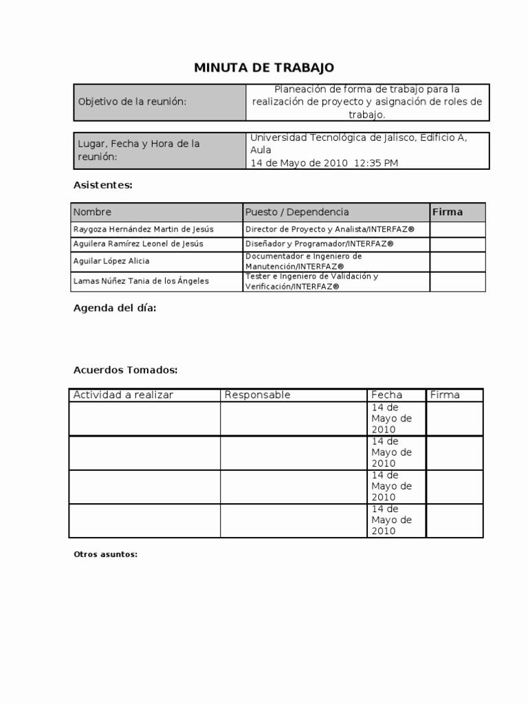 Formatos De Caratulas Para Trabajos Best Of Minuta De Trabajo