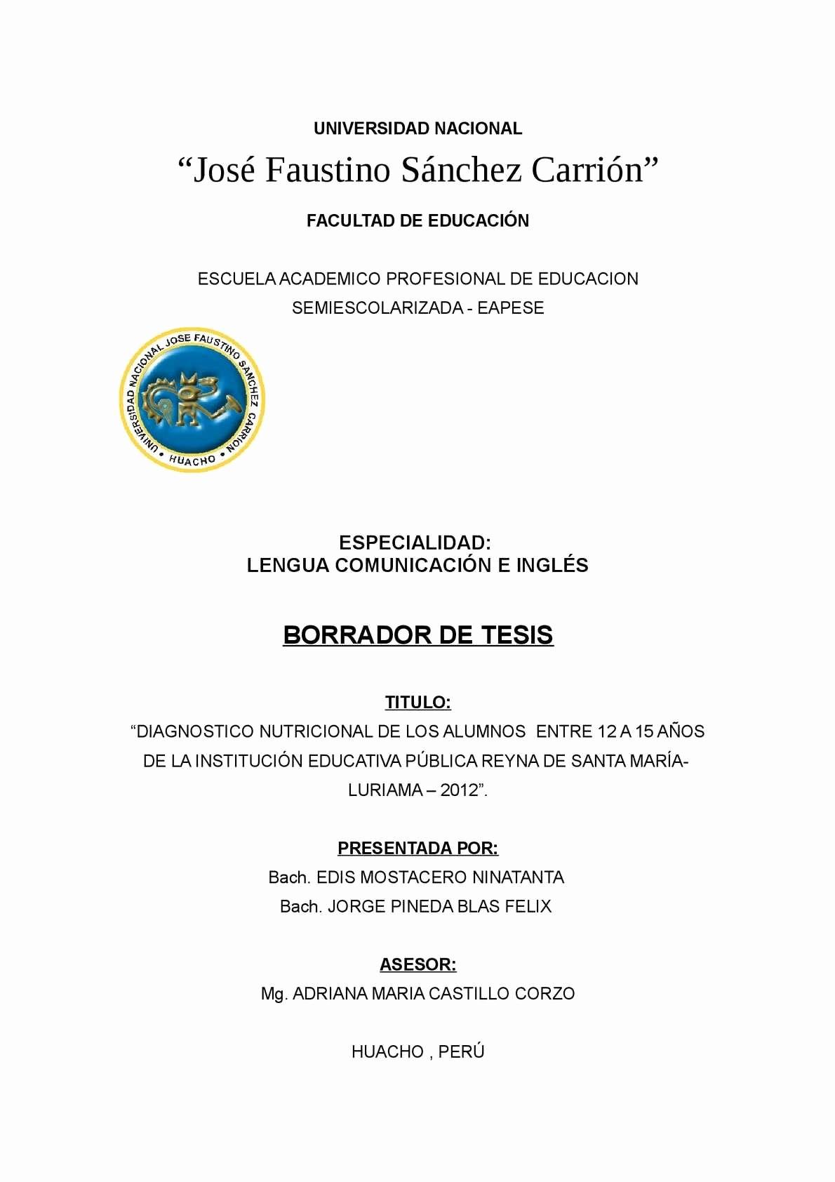 Formatos De Caratulas Para Trabajos Elegant Calaméo Tesis Desnutricion