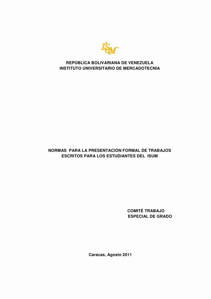 Formatos De Caratulas Para Trabajos Elegant Guia Elaboración De Trabajos Escritos isum