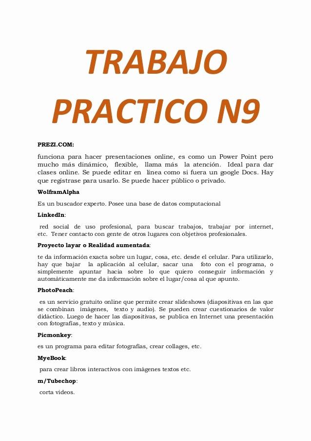 Formatos De Caratulas Para Trabajos Luxury Trabajo Practico N9