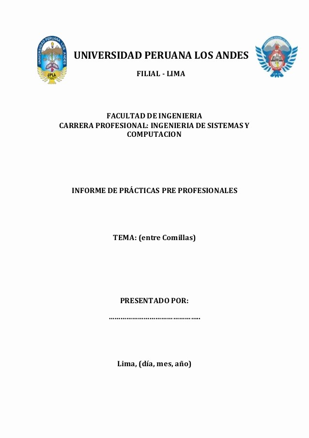 Formatos De Caratulas Para Trabajos Unique formato Del Informe De Practicas Pre Profesionales I
