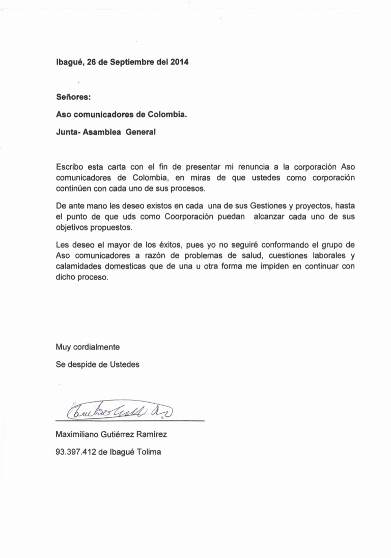 Formatos De Cartas De Renuncias Awesome Carta De Renuncia A aso Unicadores De Colombia