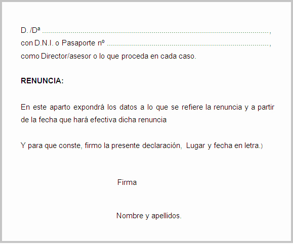 Formatos De Cartas De Renuncias Beautiful Modelo Renuncia