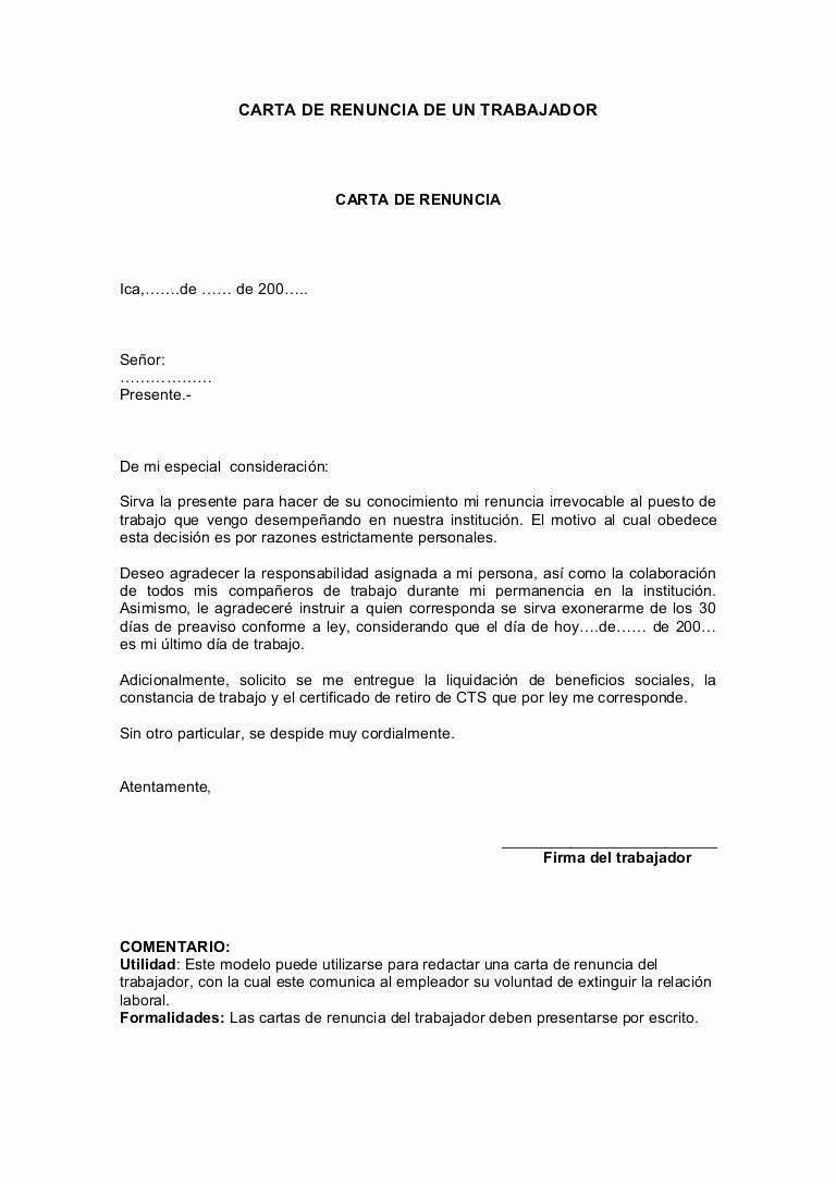 Formatos De Cartas De Renuncias Fresh Carta De Renuncia De Un Trabajador