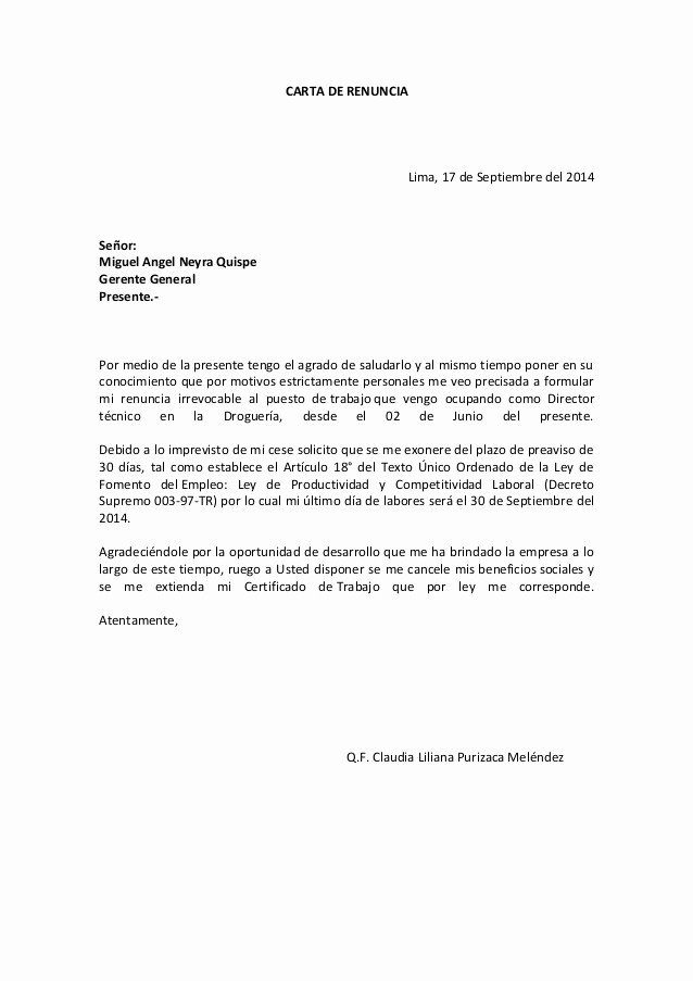 Formatos De Cartas De Renuncias Luxury Carta De Renuncia