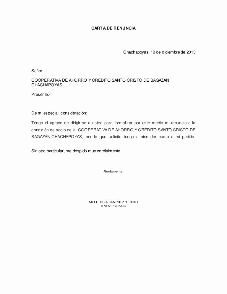 Formatos De Cartas De Renuncias New Carta De Renuncia
