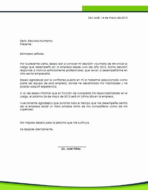 Formatos De Cartas De Renuncias Unique Ejemplo Carta De Renuncia Costa Rica German