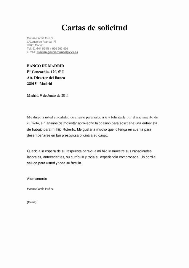Formatos De Cartas De Trabajo Elegant Carta De solicitud Entrevista De Trabajo