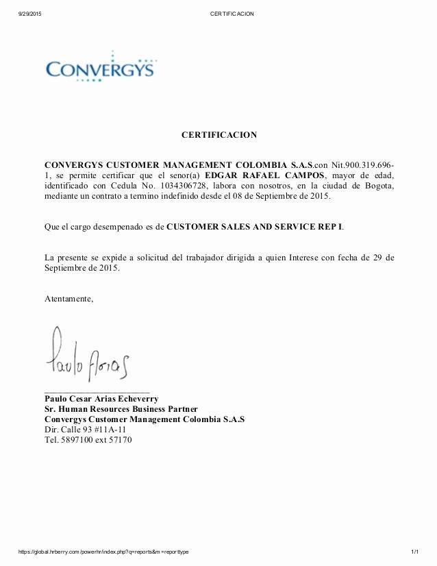 Formatos De Cartas De Trabajo Fresh Carta De Trabajo Convergys
