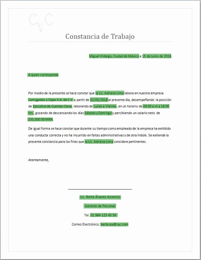 Formatos De Cartas De Trabajo Fresh Constancia De Trabajo Carta Laboral formatos Y