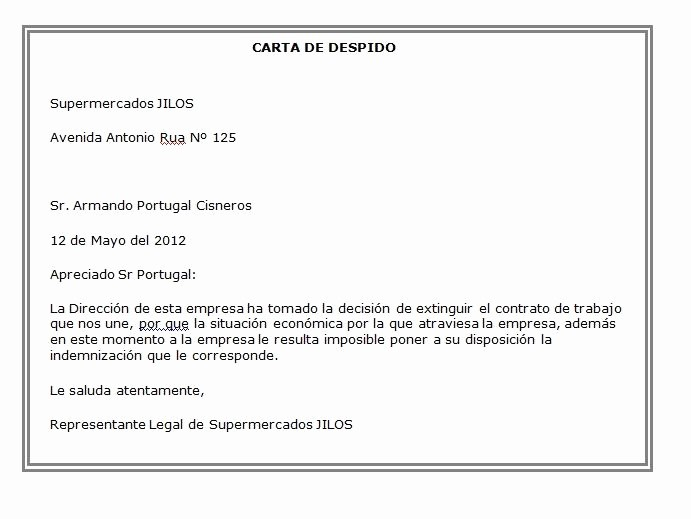 Formatos De Cartas De Trabajo Lovely formato De Carta De Despido