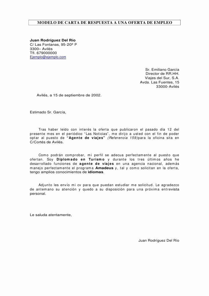 Formatos De Cartas De Trabajo Unique Carta De Respuesta A Oferta