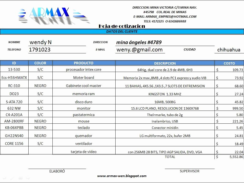 Formatos De Cotizaciones Para Llenar Beautiful Armax Cotizaciones En Excel
