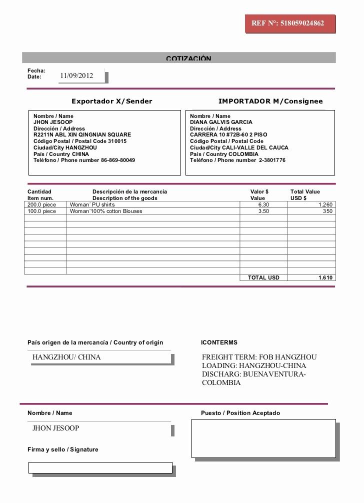 Formatos De Cotizaciones Para Llenar Elegant Modelo Cotización Importacion