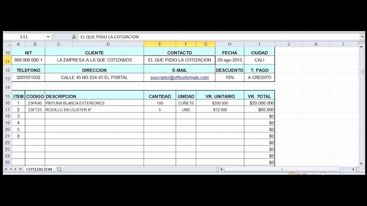 Formatos De Cotizaciones Para Llenar Luxury formato De Cotizacion Office 2010 Excel Editable