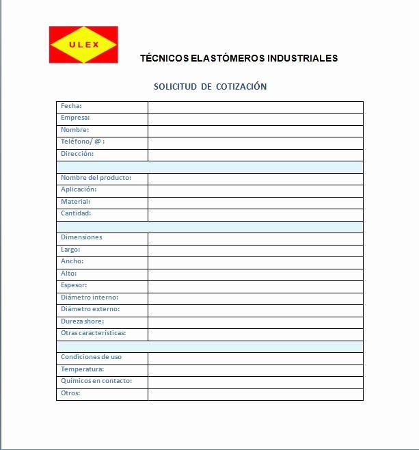 Formatos De Cotizaciones Para Llenar Luxury Ulex Técnicos Elastómeros Industriales Cotizacion